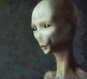 Gray Art - Alien Grey Thoughtful  by Pixel Chimp