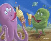 Cartoon Alien Eating Posters - Alien Ice Cream Poster by Martin Davey