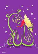Kid Eating Snack Prints - Alien Ice Cream -vector Version Print by Martin Davey