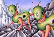 Science Fiction Drawings - Alien in the mountainous by T Koni