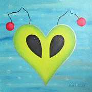 Out Of This World Paintings - Alien Love by Kristi L Randall