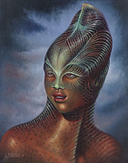Reptile Paintings - Alien Portrait I by Ricardo Chavez-Mendez