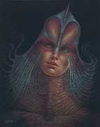 Sci-fi Painting Framed Prints - Alien Portrait Il Framed Print by Ricardo Chavez-Mendez