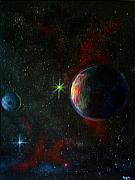 Cosmos Painting Metal Prints - Alien Worlds Metal Print by Murphy Elliott