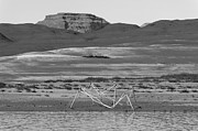 Desert Lake Framed Prints - Alien Wreckage BW - Lake Powell Framed Print by Julie Niemela