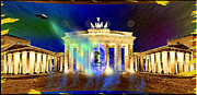 Tor Digital Art Framed Prints - Aliens Attack on the Brandenburg Gate in Berlin Framed Print by Daniel Janda