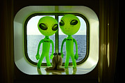 Cabin Window Prints - Aliens in the Cabin Window Print by Richard Henne