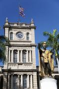 Featured Prints - Aliiolani Hale and Kamehameha Print by Brandon Tabiolo