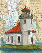 Map Art Painting Posters - Alki Pt Lighthouse WA Chart Map Art Cathy Peek Poster by Cathy Peek