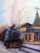 Railroad Snow Paintings - All Aboard at the New Hope Train Station by Loretta Luglio