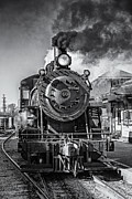 Steam And Smoke Prints - All Aboard BW Print by Susan Candelario
