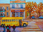 School Houses Painting Framed Prints - All Aboard The School Bus Montreal Street Scene Framed Print by Carole Spandau
