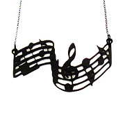 Musician Jewelry - All About The Music Notes Staff Necklace by Rony Bank