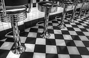 Stools Prints - All American Diner Print by Bob Christopher