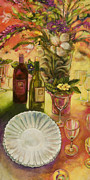 Red Wine Painting Originals - All Are Gathered by Jen Norton