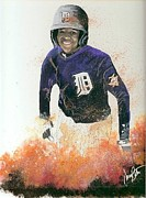 Outfielder Paintings - All Around Player by Jerry Bates