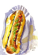 Fast Food Paintings - All Beef Ballpark Hot Dog with the Works to Go in Broad Daylight by Kip DeVore