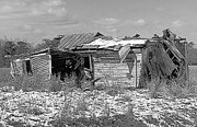 Abandoned Houses Digital Art Metal Prints - All But Gone Black and White Metal Print by Victor Montgomery