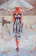 White Dress Painting Originals - All Dressed Up by Laura Lee Zanghetti
