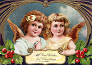 Cards Vintage Framed Prints - All Good Wishes for Christmas Framed Print by Munir Alawi
