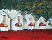 Flower Boxes Paintings - All in a Row by Sandy Linden