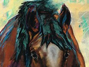 Horse Pastels Framed Prints - All Knowing Framed Print by Frances Marino