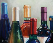 Red Wine Bottle Posters - All Lined Up Poster by Donna Tuten