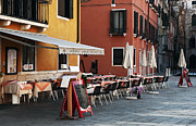 Italian Restaurant Prints - All Lined up in Venice Print by John Rizzuto