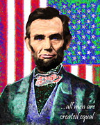 Abe Lincoln Digital Art Posters - All Men Are Created Equal 20130115 Poster by Wingsdomain Art and Photography