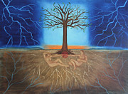 Tree Roots Paintings - All of Creation by Diana Perfect