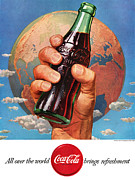 Fizzy Framed Prints - All Over the World Coca Cola Brings Refreshment Framed Print by Nomad Art And  Design