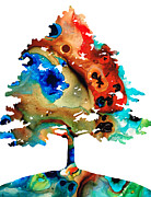 Bright Colors Mixed Media Prints - All Seasons Tree 3 - Colorful Landscape Print Print by Sharon Cummings