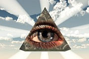 Symbology Painting Prints - All-Seeing Eye Print by Jesus Christ