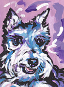 Miniature Schnauzer Paintings - All Smiles Schnau by Lea