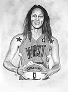 All-star Drawings Framed Prints - All Star Brittney Griner Framed Print by Devin Millington