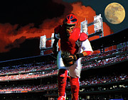 Baseball Stadiums Digital Art Prints - All Star Yadier Molina Print by John Freidenberg