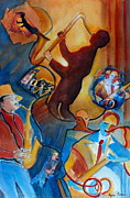 Trombone Painting Originals - All That Jazz by Myra Evans