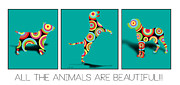 Boxer Puppy Digital Art Posters - All The Animal Are Beautiful  Poster by Mark Ashkenazi