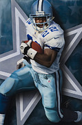Running Back Painting Framed Prints - All Time Framed Print by Rob Jackson