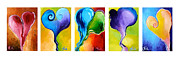 Purple Heart Painting Posters - All Together Now Poster by Kim Chigi
