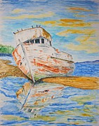 Trawler Drawings Metal Prints - All Washed Up Metal Print by Paul Morgan