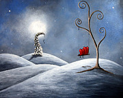 Snowy Trees Paintings - All We Need For Christmas by Shawna Erback by Shawna Erback