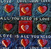 With Love Mixed Media Framed Prints - All You Need Is Love 3 Framed Print by Gerry High