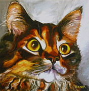 Feline Drawings Posters - All Yours Poster by Susan A Becker