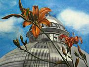 Faa Painting Prints - Allan Garden with daylilies Print by Alfred Ng