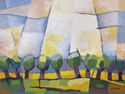 Cubism Paintings - Allee mit Rapsfeld by Lutz Baar