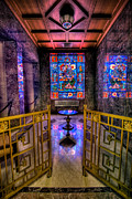 Glass Reflecting Posters - Allegheny Cemetery Mausoleum Stained Glass HDR 1 Poster by Amy Cicconi