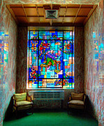 Aquamarine Framed Prints - Allegheny Cemetery Mausoleum Stained Glass HDR 4 Framed Print by Amy Cicconi