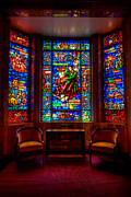 Hdr Metal Prints - Allegheny Cemetery Mausoleum Stephen Foster Stained Glass HDR 3 Metal Print by Amy Cicconi