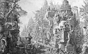 Ruins Drawings Metal Prints - Allegorical Frontispiece of Rome and its history from Le Antichita Romane  Metal Print by Giovanni Battista Piranesi